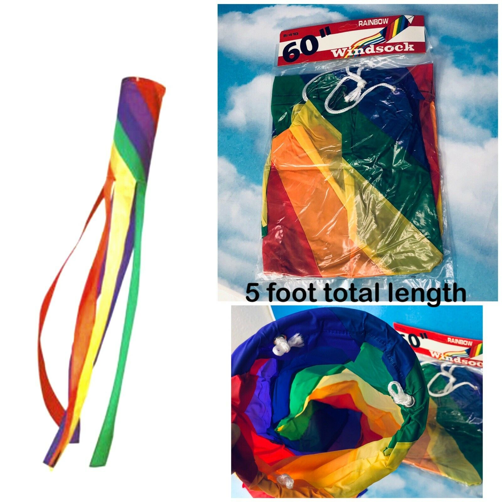"""5 Ft. Rainbow Windsock Plastic Spiral with Long Tails 60"""" = 5 Feet Long Total"""