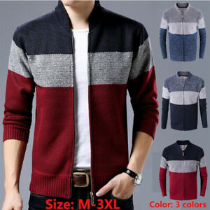 New-Mens-Zip-Up-Cardigan-Fleece-Lined-Striped-Thick-Outdoor-Knitted-Jumper-Top