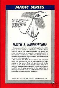 Details about Old Match & Hanky Magic Trick Chicago Vending Card