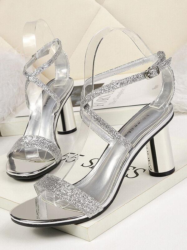 Sandales argent Strass Cuir Elegante Carré 7.5 cm Confort cw171
