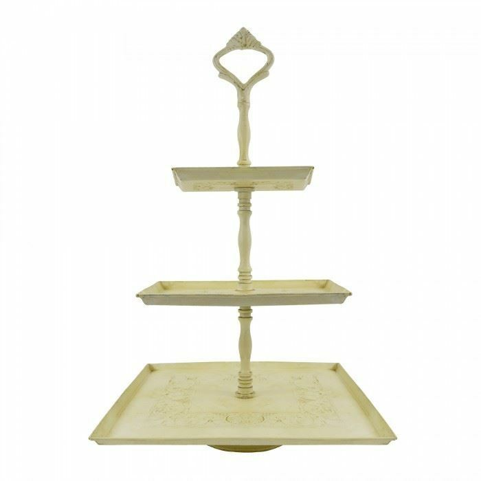 3 Tier Square Cake Stand in Antique Cream - Beautiful Home Decor