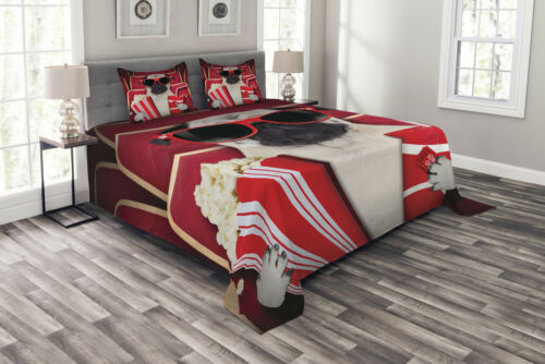 Dog Watching Movie Popcorn Print Pug Quilted Bedspread /& Pillow Shams Set