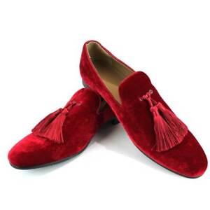 Image is loading Velvet-Slip-On-Loafers-Handmade-Tassel-Modern-Formal- 4aa50f22516c