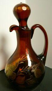 Antique Tchécoslovaquie Bohème gravé ambre foncé Art Glass salière poivrière avec papillon-afficher le titre d`origine TzACh50R-09165015-447052685