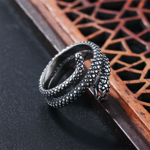 Details about  /Vintage Python Snake Rings for Men Gothic Pinky Jewelry Ring Biker Red CZ Eye
