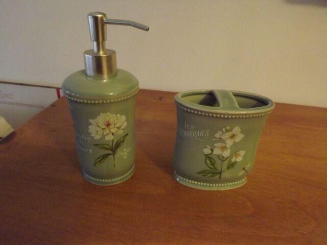 Bon NEW BATHROOM SOAP DISPENSER TOOTHBRUSH HOLDER SEAFOAM GREEN CERAMIC  RET$46.98