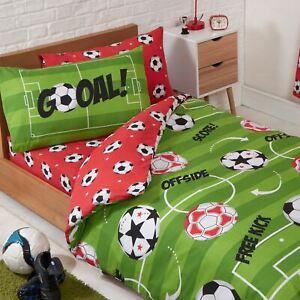 Football-Rouge-Simple-Jeu-de-Housse-et-Taie-D-039-Oreiller-Couette-Garcons-Chambre