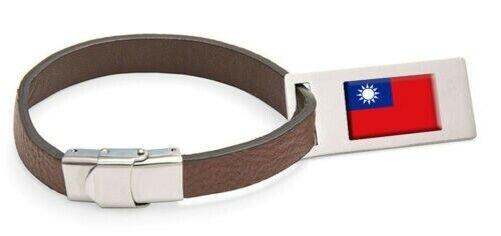 Taiwan Drapeau Cuir Étiquette de Bagage Acier Gravé Texte