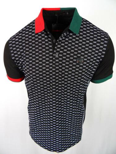 Mens Polo Shirt Niko Black Sport Print Body Italia Crest Slim Fit Stretch