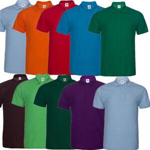 Mens-Mans-Plain-Cotton-Pique-Polo-Golf-Sports-Shirt-No-Logo-T-shirt-with-Collar