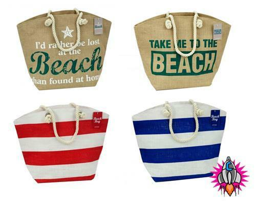 RETRO JUTE BEACH SHOPPER CARRY BAG WITH ROPE HANDLE RED BLUE