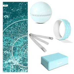 Pack accesorios yoga pilates azul FITFIU esterilla, bloque, bola, rueda, correa