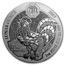 1oz Rwanda Rooster Silver Lunar Coin, 999 fine silver, 2017. New Condition