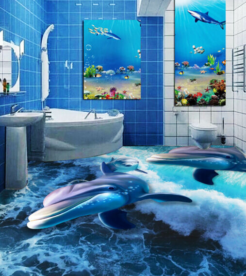 3D Dolphin waves 012 Floor WallPaper Murals Wall Print Decal 5D AJ WALLPAPER