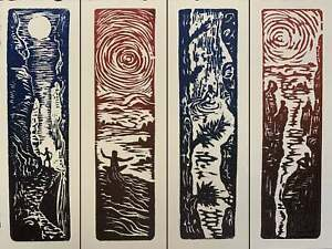 SET 4 Original Woodcut Prints Day in Nature Collection for Hikers Tree Huggers