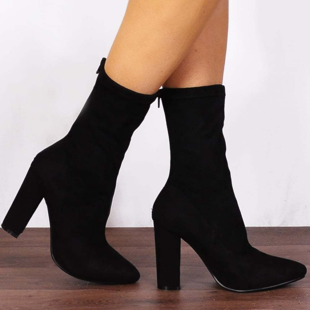 BLACK SOCK PULL ON STRETCH FAUX SUEDE ANKLE HIGH BOOTS HIGH HEELS SHOES SIZE