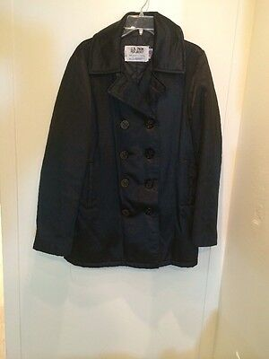 Schott Vintage Navy US 740N Slick Black Pea Coat 38