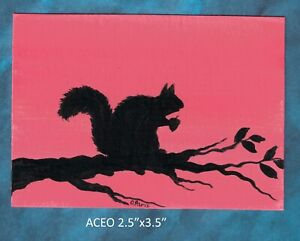Original-ACEO-Squirrel-miniature-acrylic-painting-not-framed
