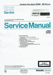 service manual instructions for philips cd 304 mkii ebay rh ebay com philips cd 130 cd player service manual philips cd150 cd player service manual
