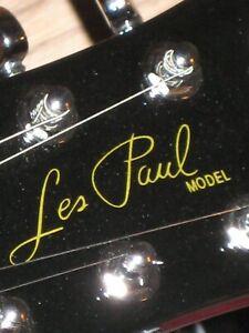 Gibson-Les-Paul-Guitar-Die-Cut-Vinyl-Decal-Sticker-OEM-Metal-Flake-Gold-Luthier