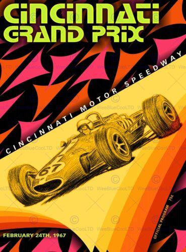 SPORT ADVERT MOTOR RACING GRAND PRIX CINCINNATI USA POSTER ART PRINT BB12683A