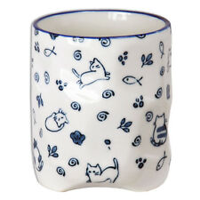 "Japanese 3.75""H Porcelain Tea Cup, Coffee Mug w/Blue Lucky Cat/ Made in Japan"