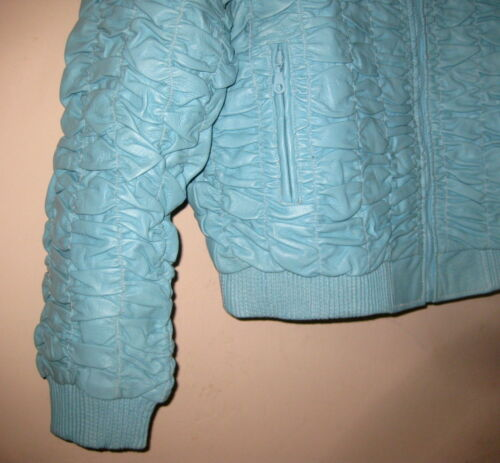 Nwt Crinkle Jacket Blue Bomber Leather Lining L Moto Genuine out Xl Zip Zipper rzWfE4rwgX