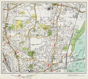 Tottenham London Map.Wood Green E Tottenham Map London 1932 31 32 Ebay