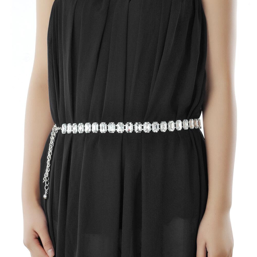 Grand carré de Diamante Ladies Fashion ceinture or   Silver robe Jeans  pantalon UK a73e20c95ec