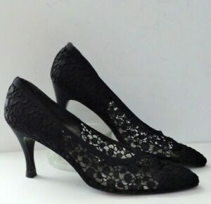 STUART-WEITZMAN-SHEER-LACE-PUMP-HIGH-HEEL-SHOES-IN-BLACK-SIZE-7M