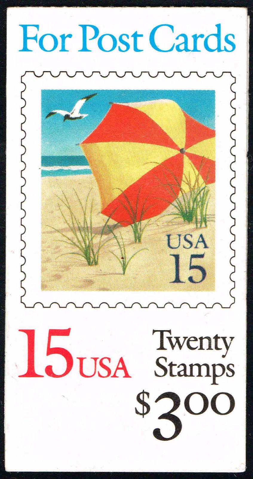 1990 15c Beach Umbrella, Booklet of 20 Scott 2443 Mint