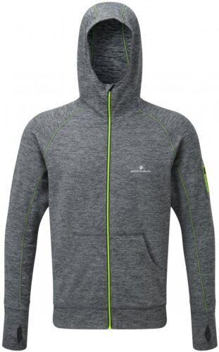 Ronhill Momentum Mens Running Hoody Grey Full Zip Soft Brushed Winter Run Hoodie