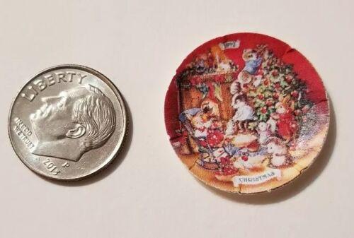 "6 Miniature dollhouse Christmas Paper plates  Barbie 1//12/"" Tree Bunnies"