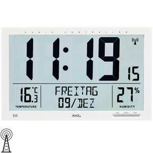 Neu Ams Wanduhr Funkuhr Digital Datum Thermometer Feuchtigkeit Buro