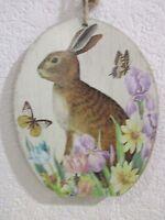 Primitive Vintage Style Easter Bunny Rabbit Hanging Sign Decoration