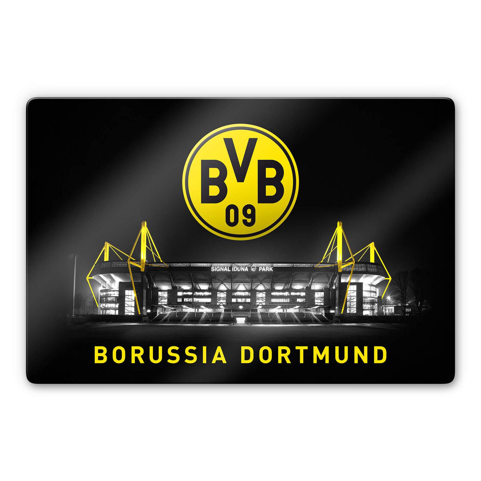 Glasbild BVB - Signal Iduna Park bei Nacht mit mit mit Emblem Borussia Dortmund Fanshop 7e54a0