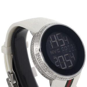 30327c15f02 Image is loading Gucci-Diamond-White-Watch-Mens-Full-Casing-Ya114214-