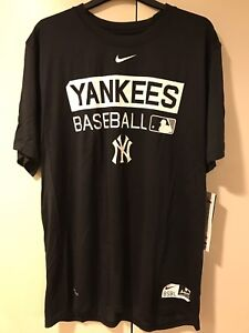 4a4c7e1556a NEW Nike authentic New York Yankees MLB Black Dri-Fit Shirt Mens XL ...