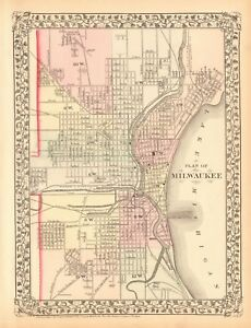 1874 Antique Map Usa Plan Of Milwaukee Ebay