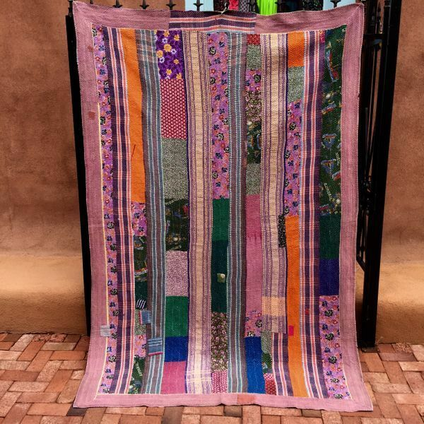 86 Vintage TOP QUALITY Throw Blanket Kantha Gudri Quilt Rug Curtain Wallhanging