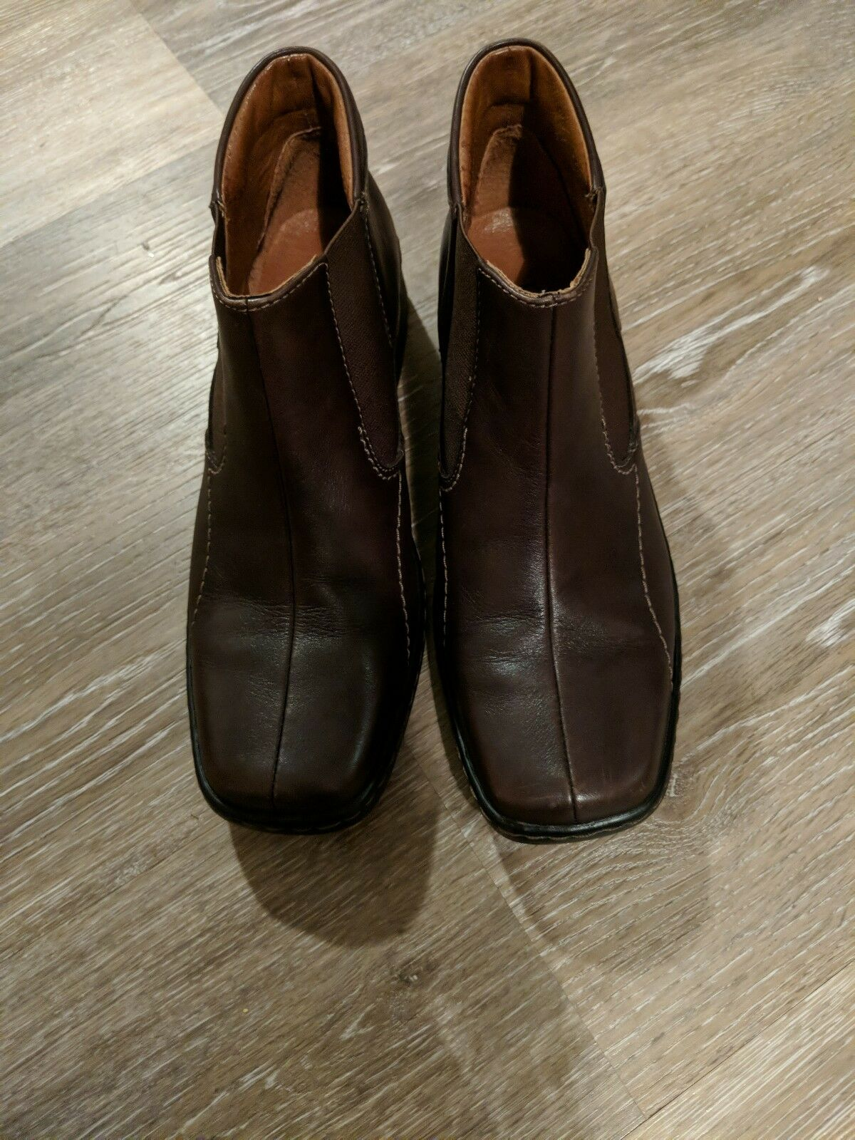 JOSEF SEIBEL Womens Slip On Ankle Boots Brown Leather Elastic Sz 37  6.5 US