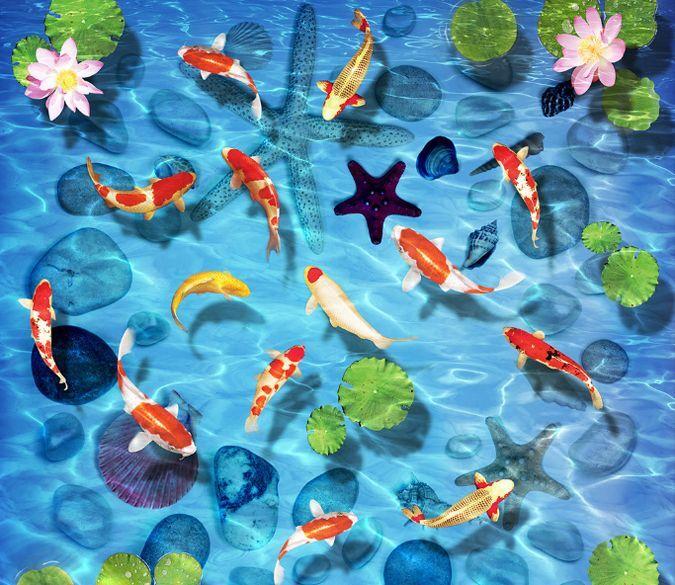 3D Lotus Goldfish Pond Floor WallPaper Murals Wall Print Decal 5D AJ WALLPAPER