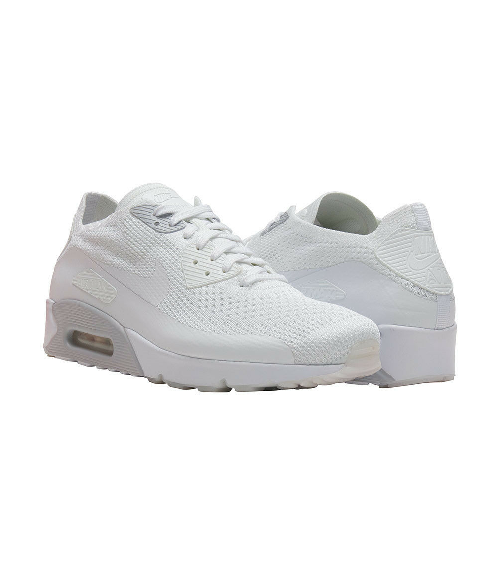 Nike Air Max 90 Ultra 2.0 Flyknit White Pure Platinum Shoes 875943 101 Mens 10