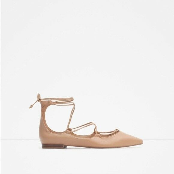 Zara Zara Zara desnuda con cordones tacón bajo-Talla 7  a la venta