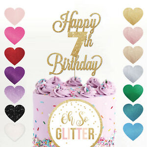 Fine Happy 7Th Birthday Cake Topper Seven 7 Glitter Any Age Cake Custom Personalised Birthday Cards Epsylily Jamesorg