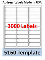 3000 Laser/ink Jet Labels 30up Address Compatible With 30 Up. Templates