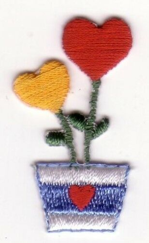 Red Yellow Heart Flower Embroidery Patch