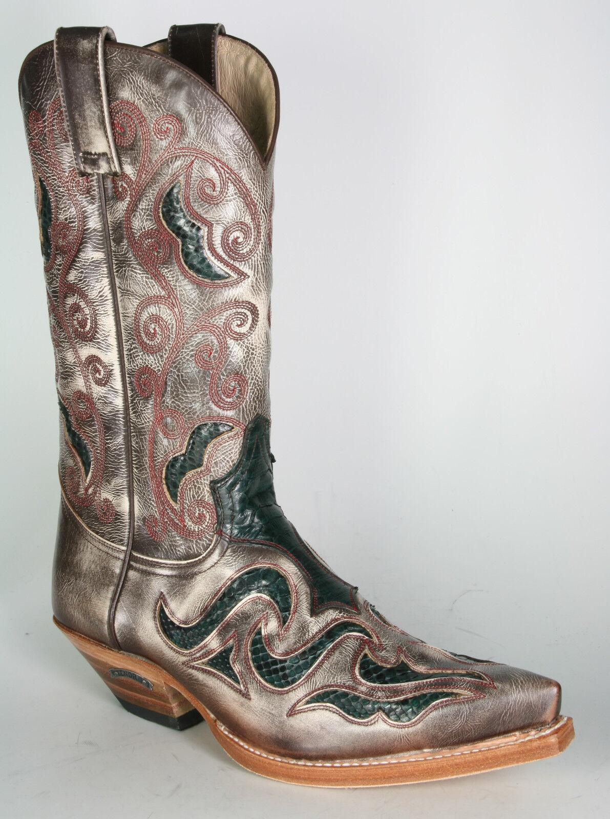 Details zu Sendra Cowboy Stiefel Boots 37 Damen Exotische Schlangenleder Phoenix Inlays