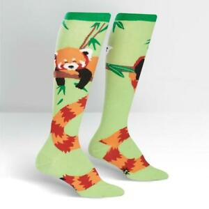 Womens-Knee-High-Socks-Red-Panda-Sock-Colourful-Funny-Cute-Long-Happy