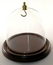 "FREE SHIPPING Glass Display Dome 4""x4"" Walnut Base Brass Hook For Collectibles"